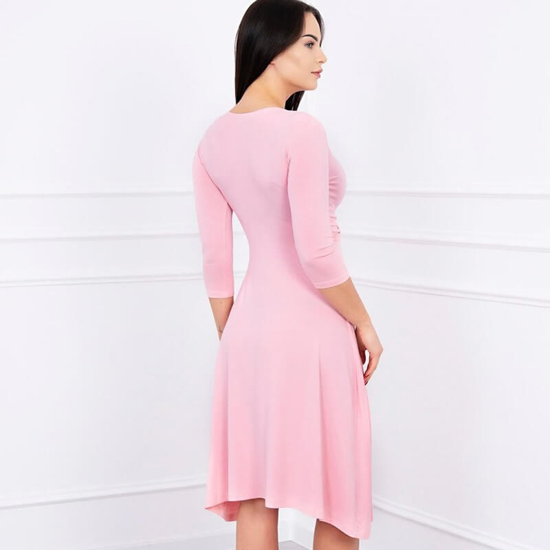 Obleka S 3/4 Rokavi V Roza Barvi