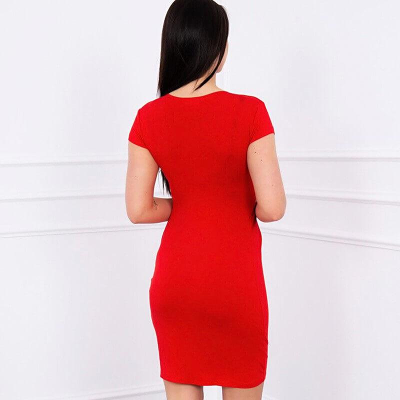 Ozka obleka s kratkimi rokavi v rdeči barvi