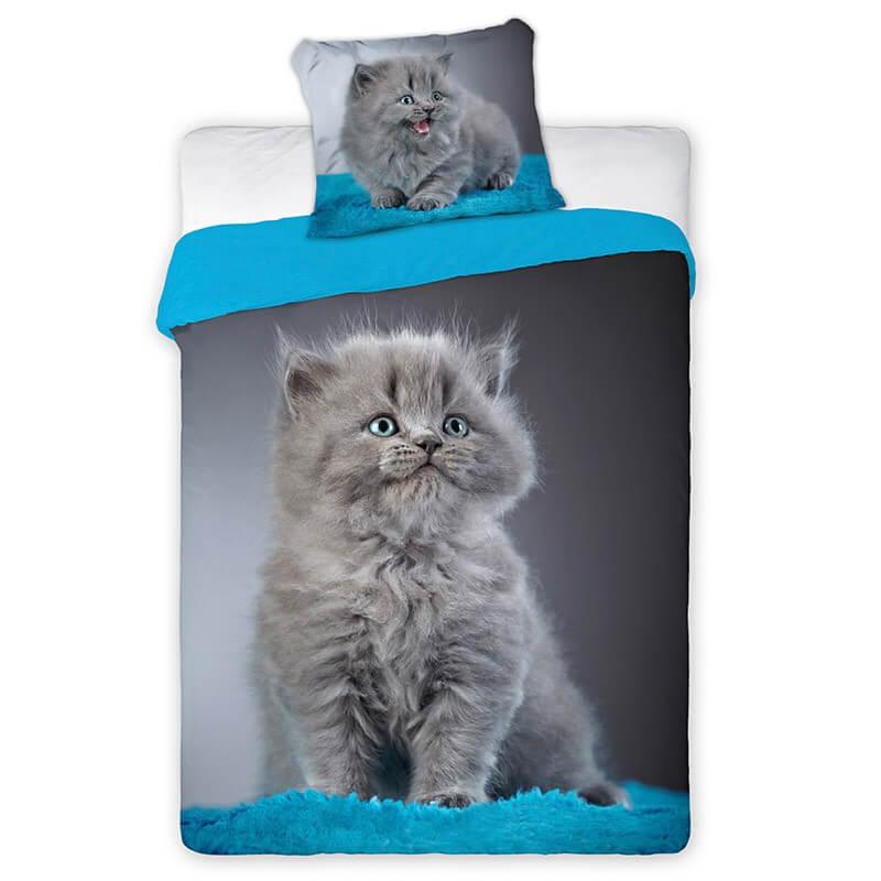 Sivo-modra posteljnina z muco