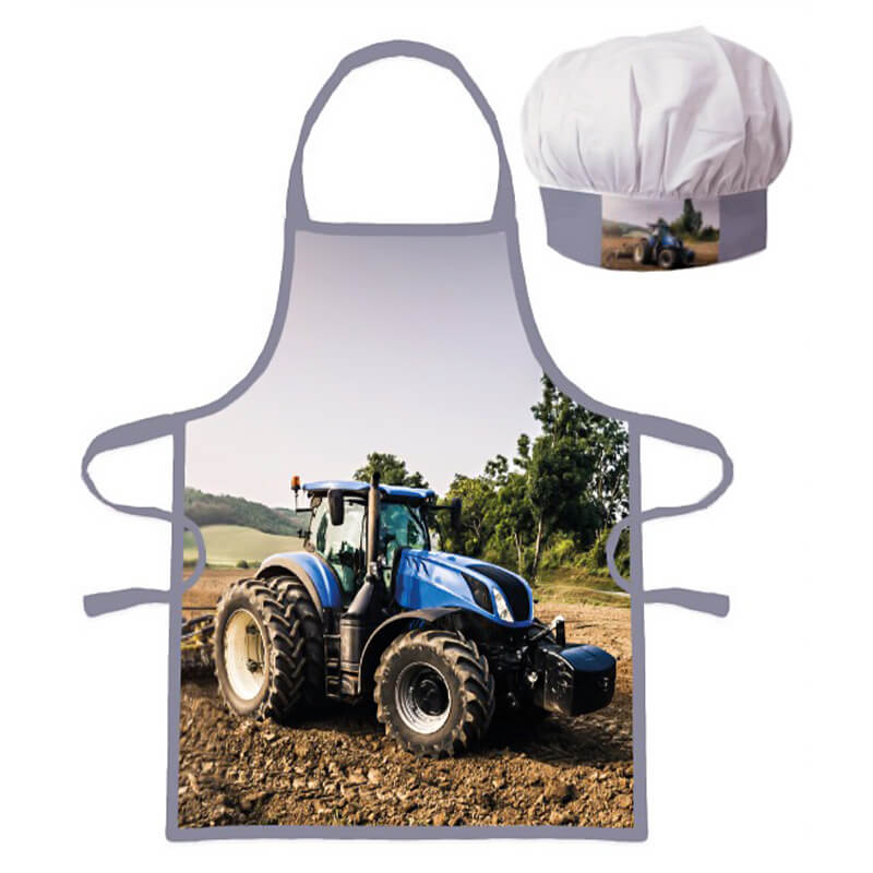 Predpasnik In Kuharska Kapa Traktor V Modri Barvi
